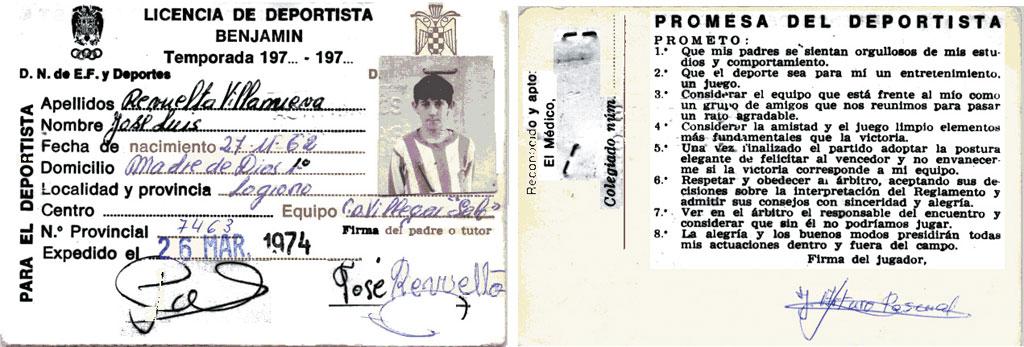 1974-75. Ficha De Un Jugador Del CD Villegas.